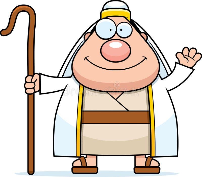 Pastor Waving dos desenhos animados ilustração do vetor