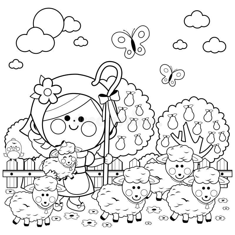 Pastora y ovejas de la muchacha en la granja P?gina blanco y negro del libro de colorear ilustración del vector