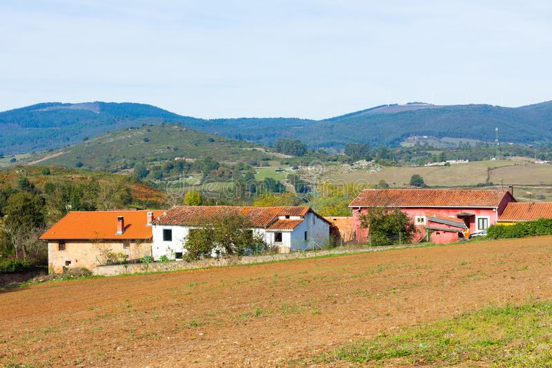 Pastoral landscape of Asturian village. Asturias. Spain stock images