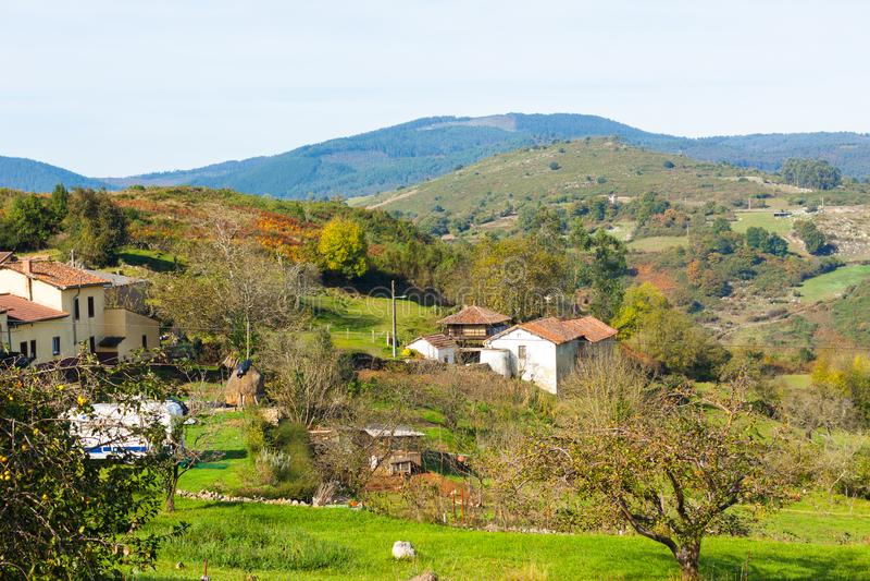 Pastoral landscape of Asturian village. Asturias. Spain royalty free stock photo