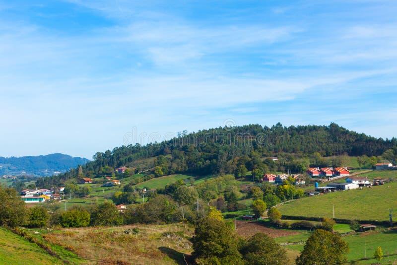 Pastoral landscape of Escamplero village. Asturias. Spain royalty free stock images