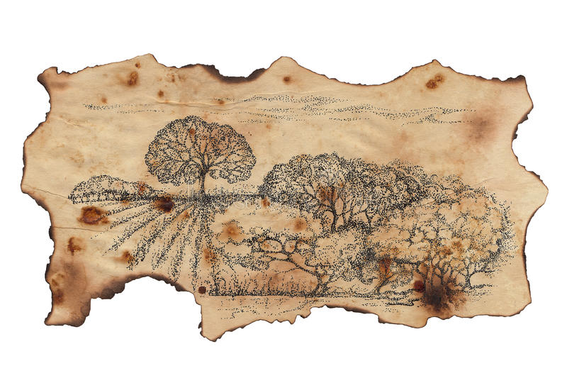 Pastoral landscape painted on a scrap old charred paper stock illustration