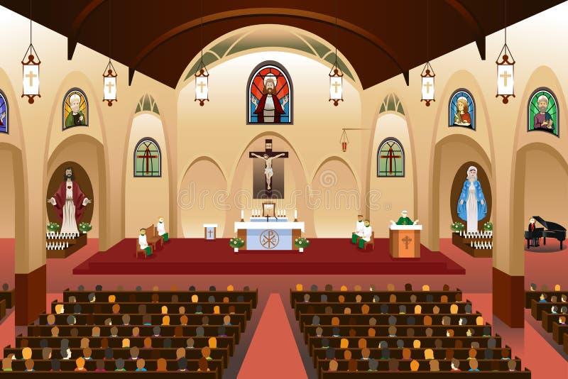 Pastore che dà un sermone ad una chiesa royalty illustrazione gratis