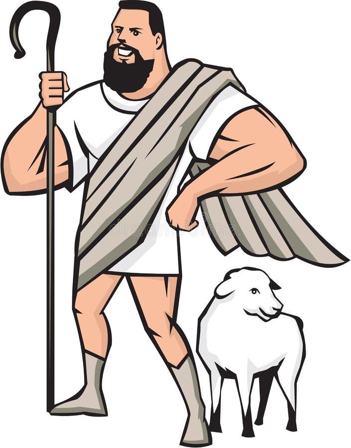 Pastore Sheep Standing Cartoon del supereroe illustrazione vettoriale