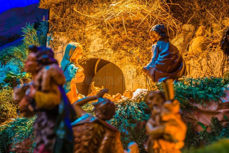 Pastores para adorar al bebé Jesús imágenes de archivo libres de regalías