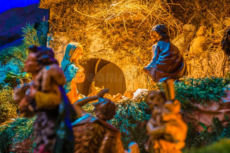 Pastori per adorare bambino Gesù immagini stock libere da diritti