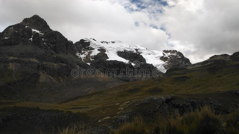 The Pastoruri glacier is a cirque glacier, located in the southern part of the Cordillera Blanca, part of the Andes mountain range. In Northern Peru in the royalty free stock image