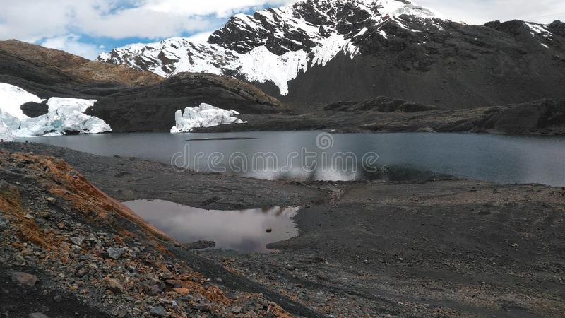 The Pastoruri glacier is a cirque glacier, located in the southern part of the Cordillera Blanca, part of the Andes mountain range. In Northern Peru in the stock images