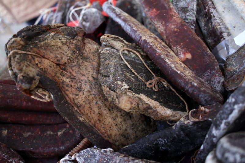 pastrami Geräucherte stoßartige Zartheit Geräucherte Pastrami feinschmeckerisches Fleisch Trockenfleisch mit Gewürzen Eine Vielza lizenzfreies stockbild