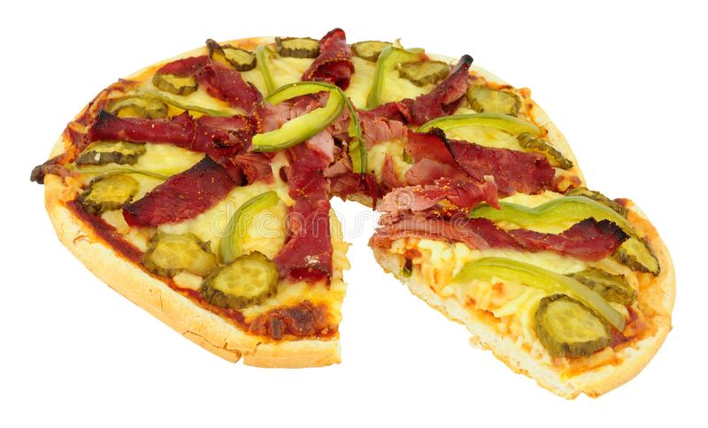 Pastrami Meat And Cheese Topped Pizza. Isolated on a white background stock images