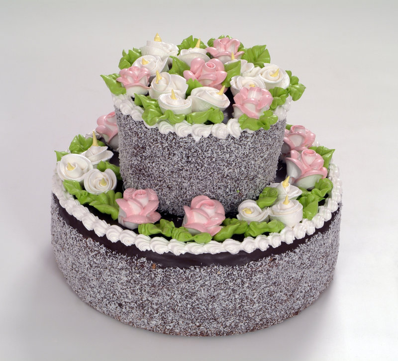 Pastries, cake with roses royalty free stock image