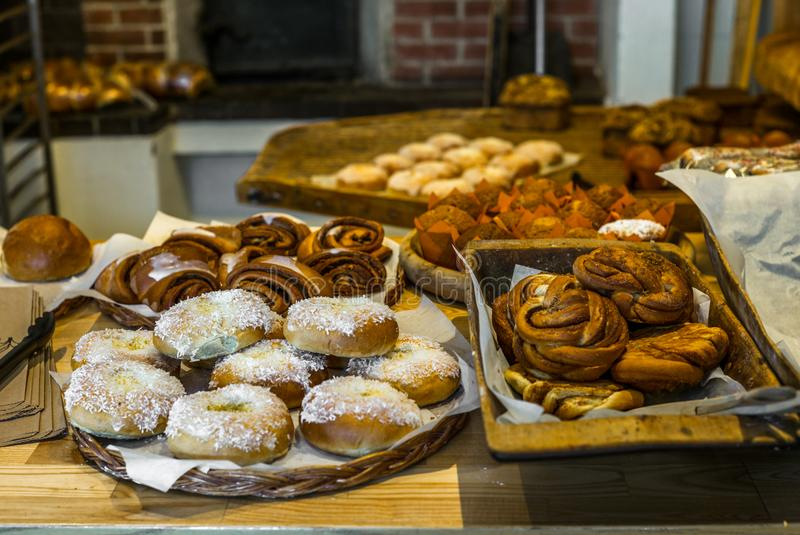 Pastries and cakes in a typical Norwegian bakery - 9. Pastries and cakes in a typical Norwegian bakery royalty free stock photography
