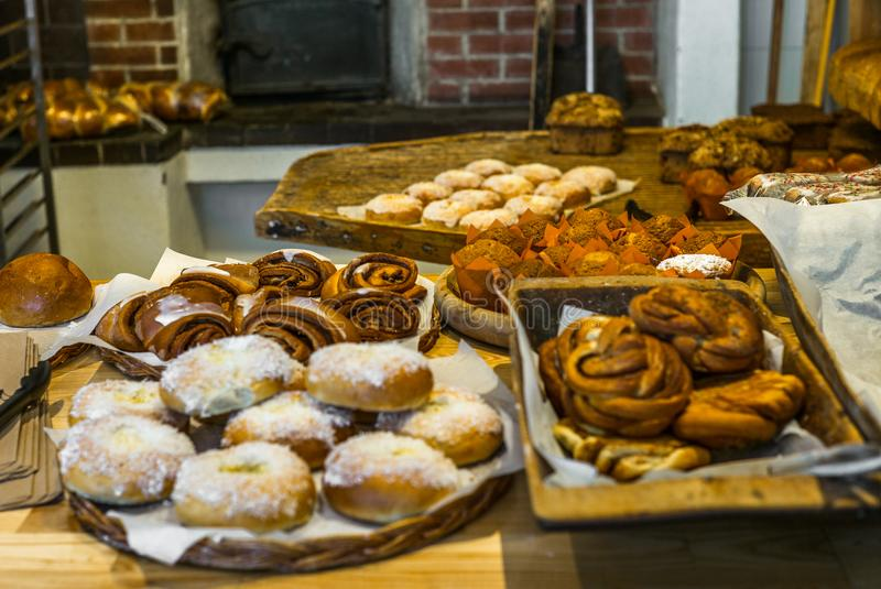 Pastries and cakes in a typical Norwegian bakery - 10. Pastries and cakes in a typical Norwegian bakery stock photography