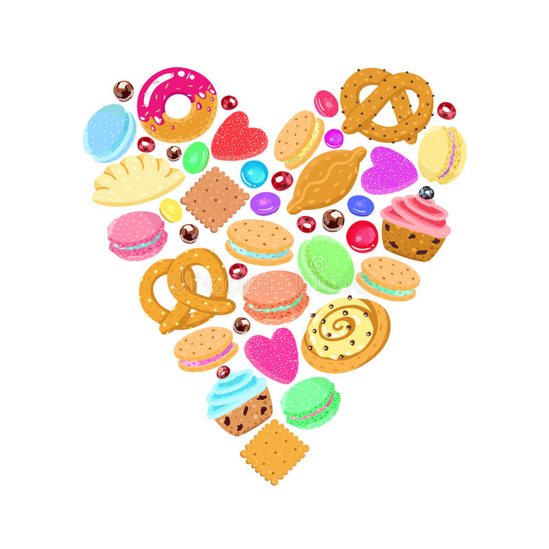 Pastries, sweets and candies vector heart background stock illustration