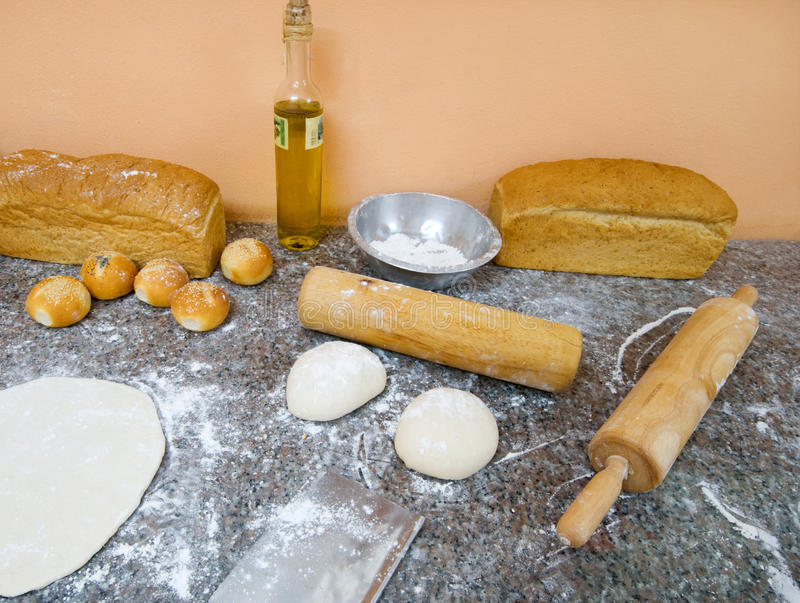 Pastry and bakery chef station royalty free stock photography