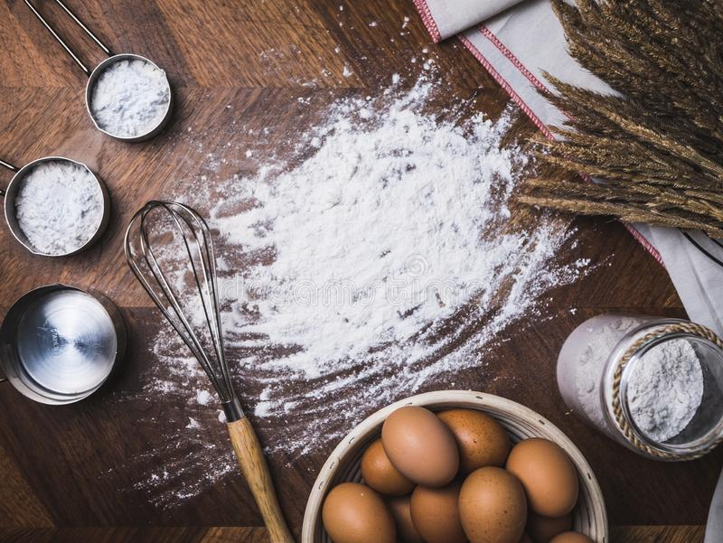 Pastry Baking Accessories Bakery Background with flour and whisk.  stock images