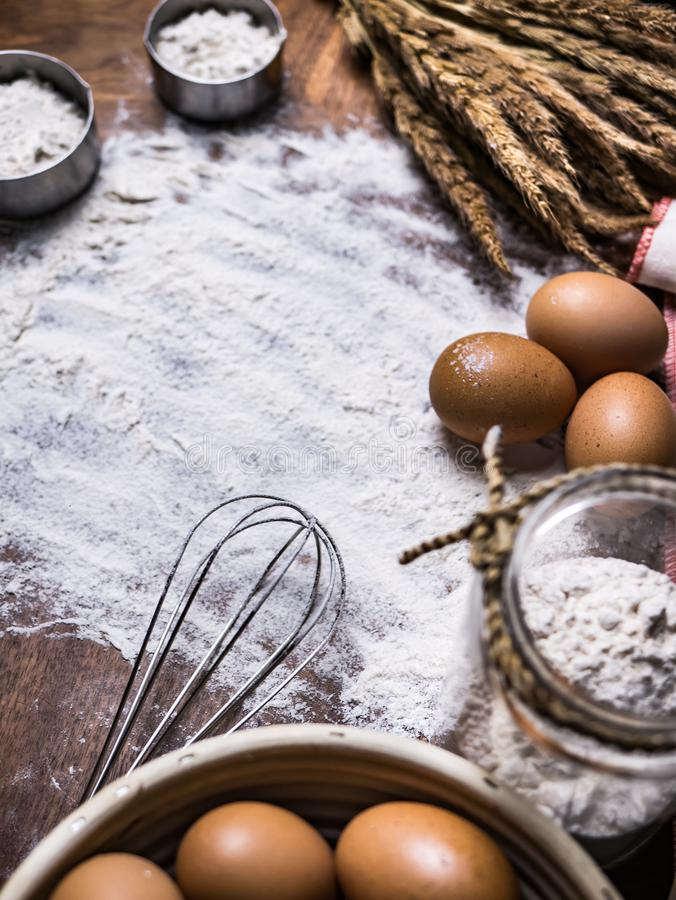 Pastry Baking Accessories Bakery Background with flour and whisk.  royalty free stock image