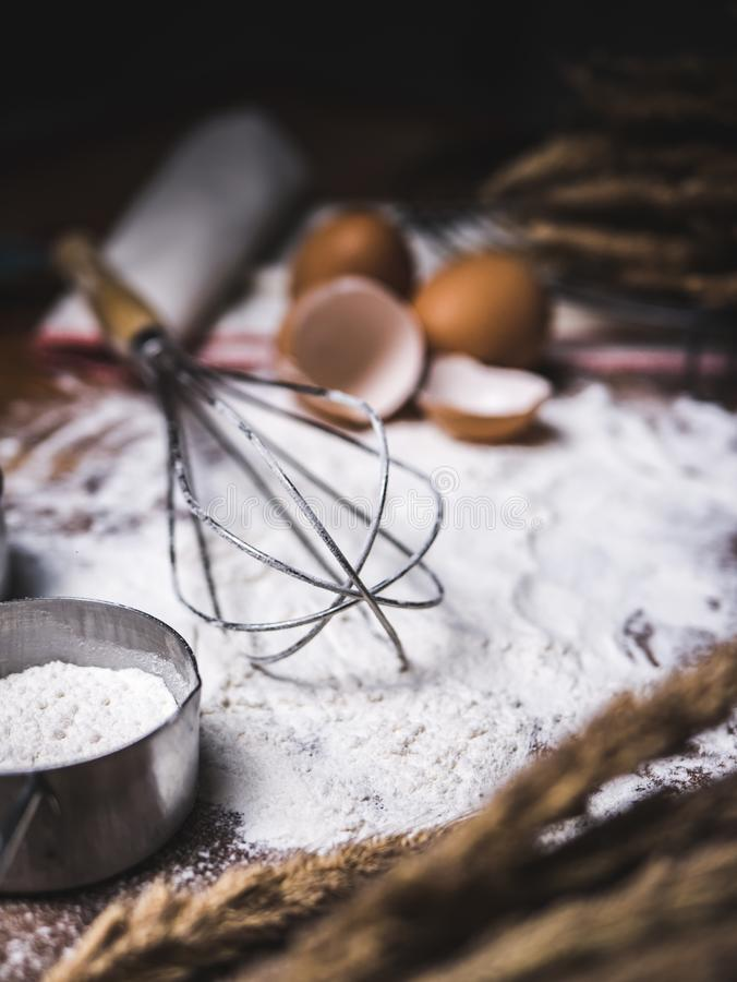 Pastry Baking Accessories Bakery Background with flour and whisk.  stock photo