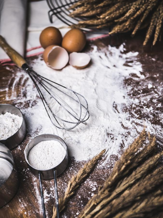 Pastry Baking Accessories Bakery Background with flour and whisk.  stock photography
