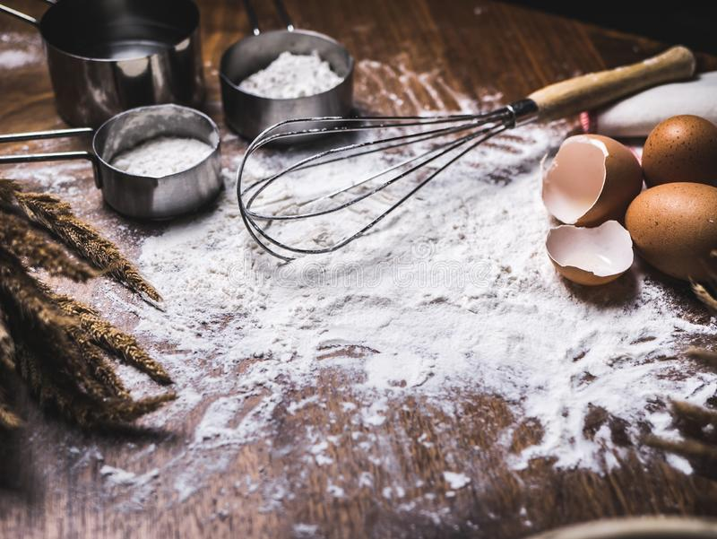 Pastry Baking Accessories Bakery Background with flour and whisk.  stock photos