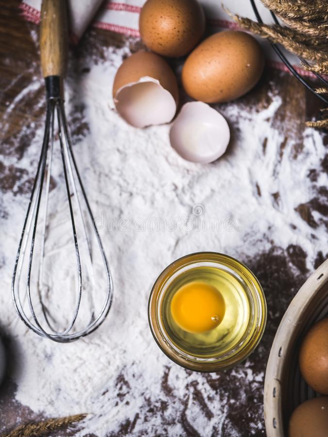 Pastry Baking Accessories Bakery Background with flour and whisk.  stock image