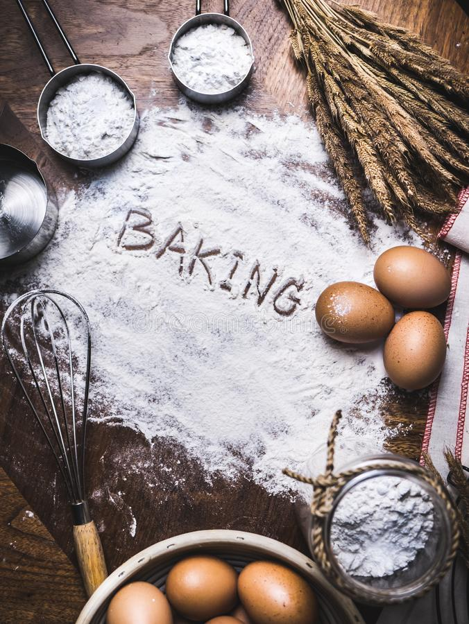 Pastry Baking Accessories Bakery Background with baking text wri. Ting on flour royalty free stock image