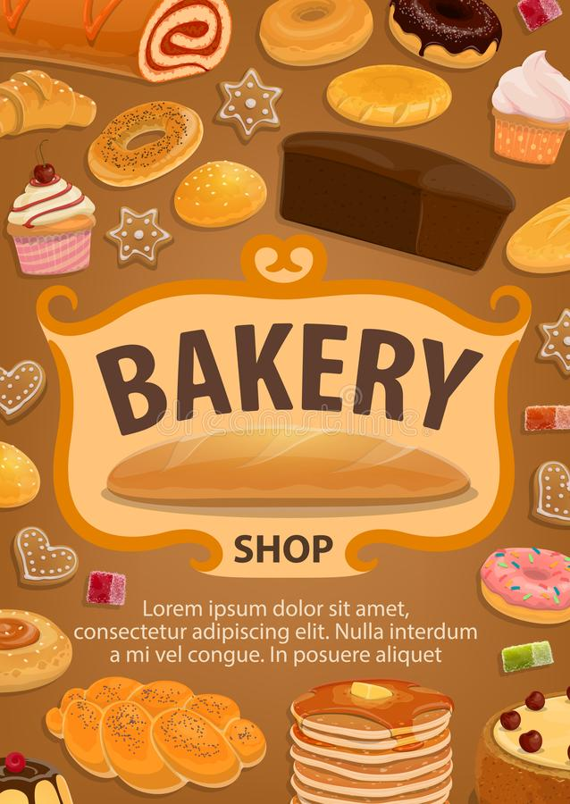 Pastry or bread, confectionery food, bakery shop stock illustration