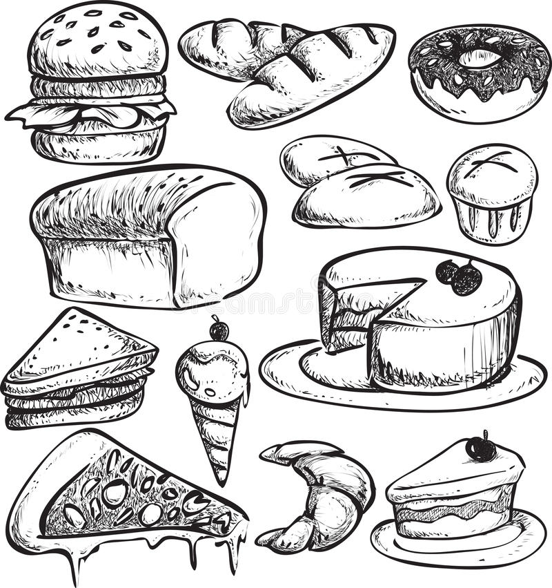 Pastry Bread Doodle royalty free illustration