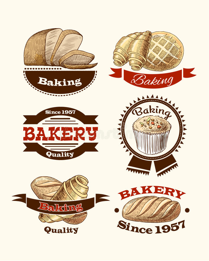 Download Pastry and bread labels stock vector. Illustration of cupcake - 40244850