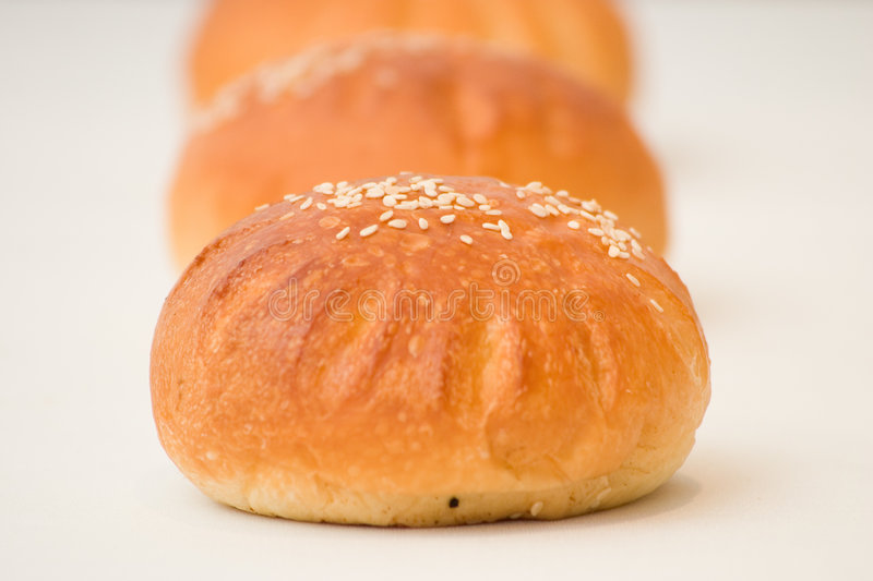 Pastry Buns. Sesame pastry buns with filling stock images