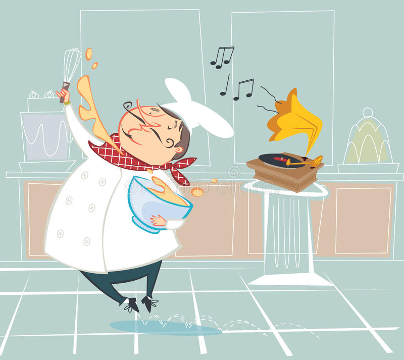 Pastry chef. Illustration of a pastry chef whipping cream