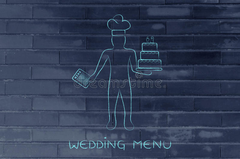 Pastry chef with menu and wedding cake. Pastry chef holding a menu and customized wedding cake, concept of professional catering services vector illustration