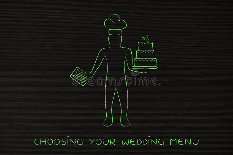 Pastry chef with menu and wedding cake. Pastry chef holding a menu and customized wedding cake, concept of professional catering services stock images