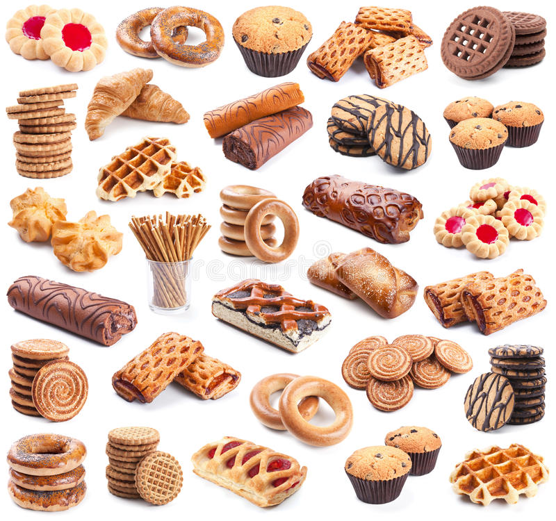 Download Pastry collection on white stock photo. Image of collection - 24270692