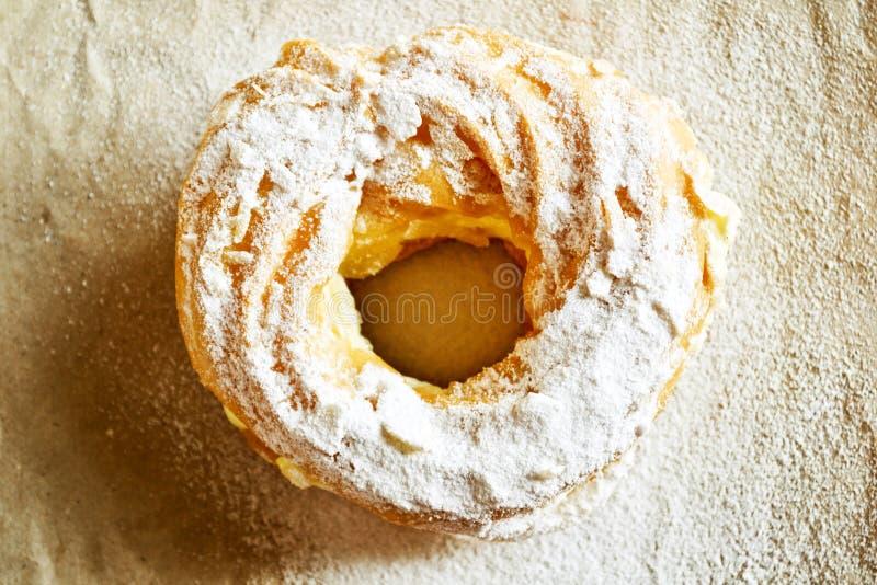 Pastry with custard stock photo