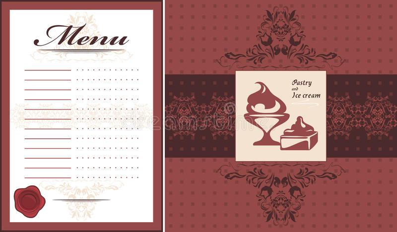 Pastry and ice cream. Menu card template and label for design royalty free illustration