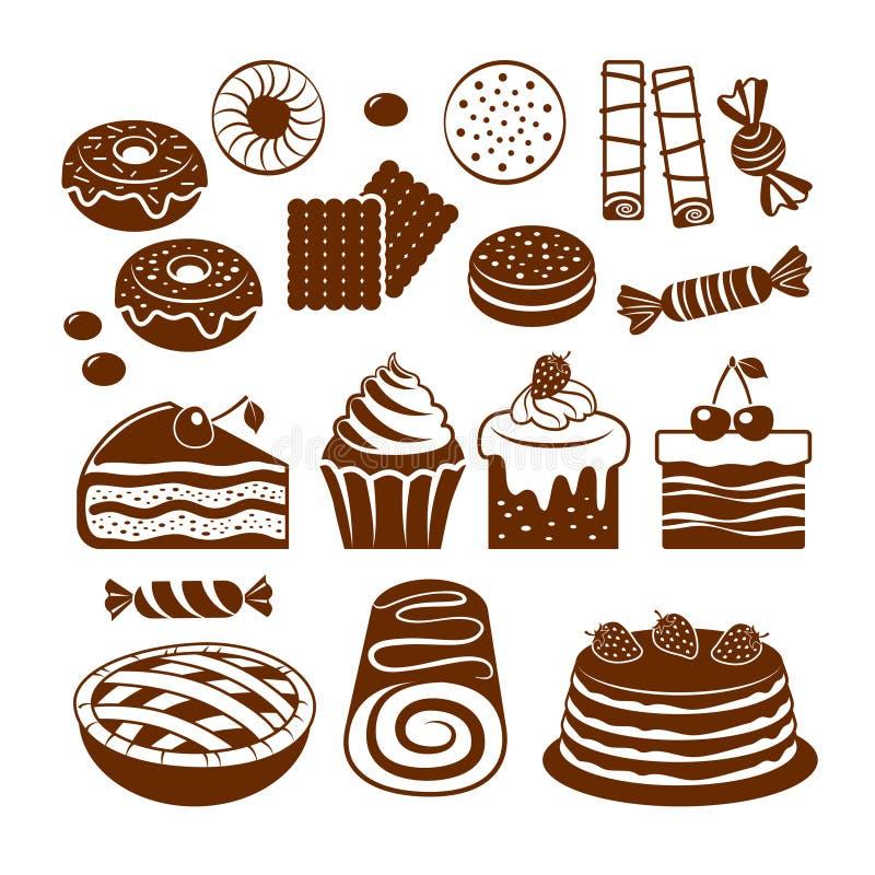 Pastry Icon Set. Stock Photo