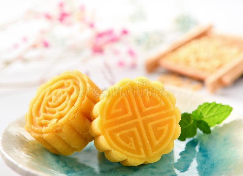 A pastry with mostly sweet fillings made for the Moon Festival, hence loosely translated as a moon cake royalty free stock photos