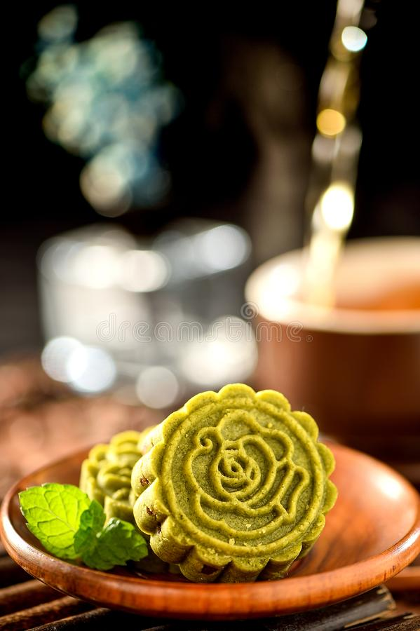 A pastry with mostly sweet fillings made for the Moon Festival, hence loosely translated as a moon cake royalty free stock images