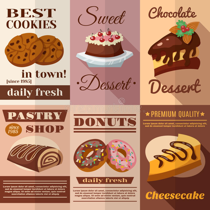 Pastry Poster Set. Pastry and bakery desserts mini poster set isolated vector illustration stock illustration
