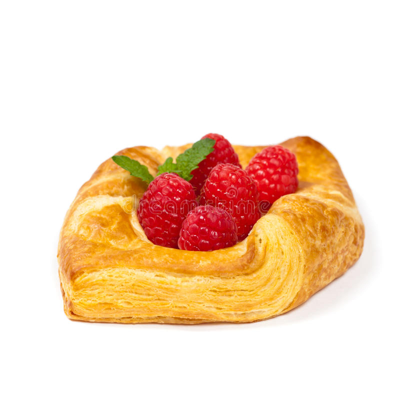 Pastry. Raspberry pastries isolated on white background. Selective focus stock images
