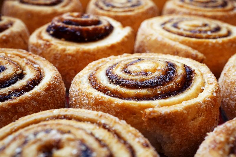 Pastry rolls background. Baked rolls on tray background royalty free stock photos