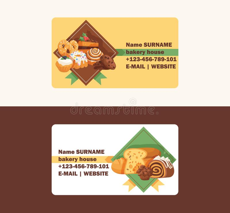 Pastry vector business card baked cake cream cupcake and sweet confection dessert with caked candies illustration. Backdrop confected donut with chococream and vector illustration