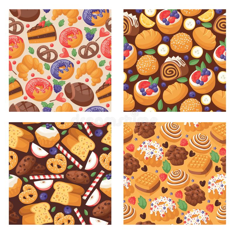 Pastry vector seamless pattern baked cake cream cupcake and sweet confection dessert with caked candies illustration. Backdrop confected donut with chococream royalty free illustration