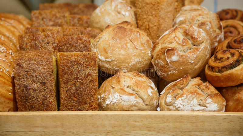Pastry. In a wood tray stock image