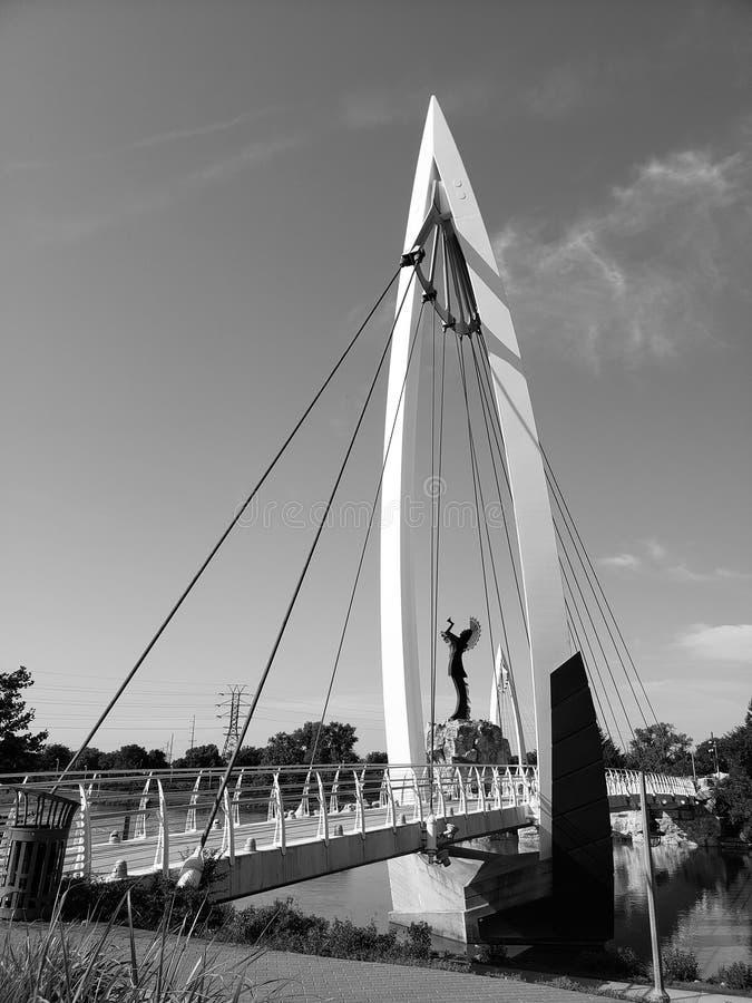 Pastuch równiny, Zwyczajnego mosta Wichita Kansas widok obrazy stock