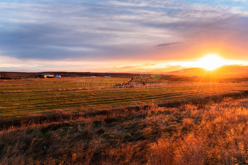 Pasture in the Coutryside of Iceland at Sunset. Stunning Autumnal Sunset over the Coutryside of Iceland with Grassy Fields in Foreground and Mountains in royalty free stock photography