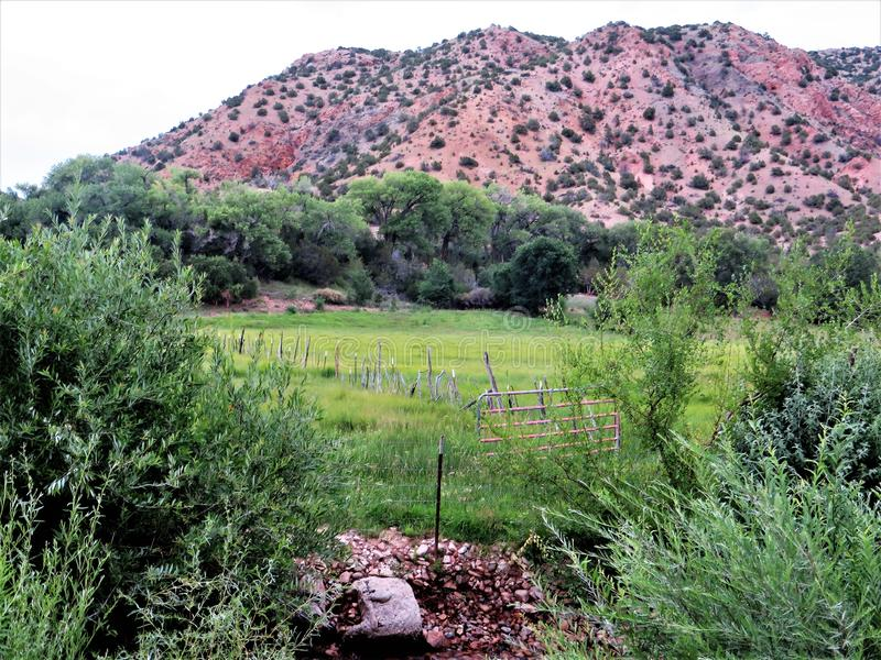 Pasture and hills, Chimayo, New Mexico stock photos