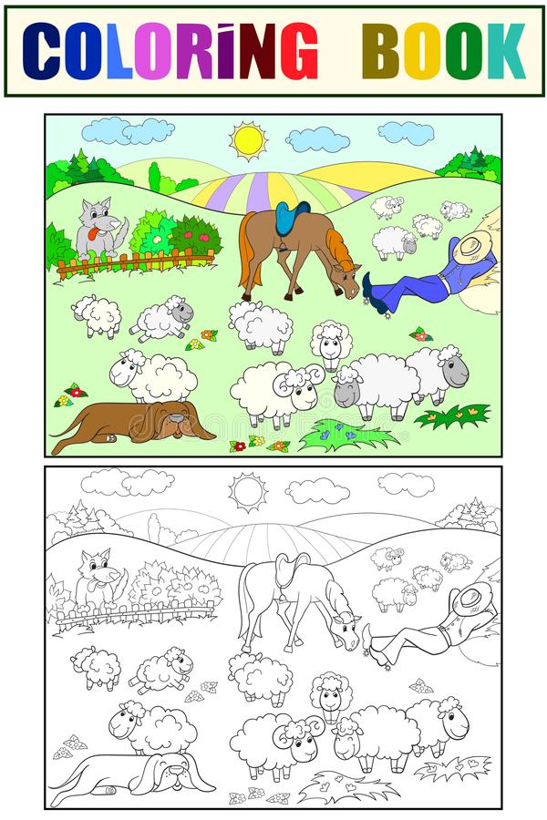 Pasture sheep with a shepherd and dog coloring for children cartoon vector illustration. Black, white and colored stock illustration