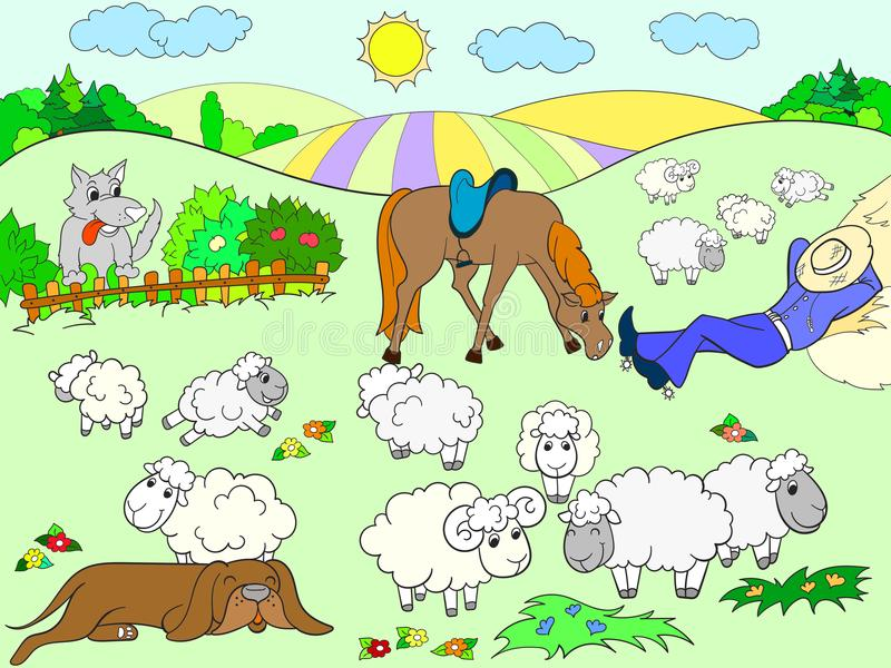 Pasture sheep with a shepherd and dog coloring for children cartoon vector illustration. Colored vector illustration